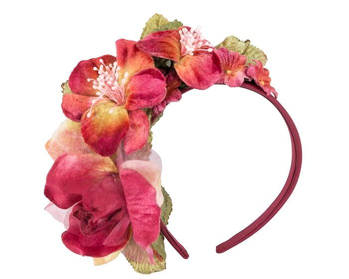 Fascinators Online - Multi-color burgundy flower headband by Max Alexander 2