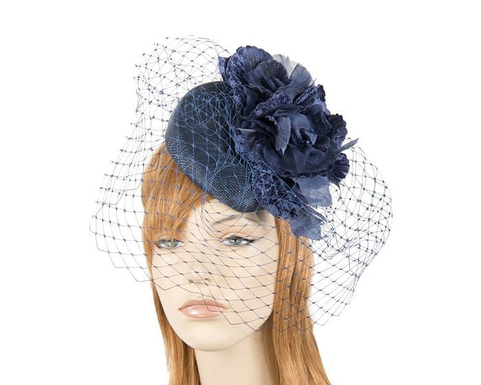 Navy racing pillbox fascinator by Fillies Collection