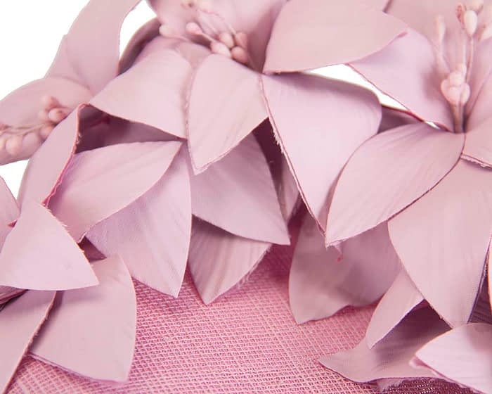 Fascinators Online - Lilac leather flower pillbox fascinator by Fillies Collection 4
