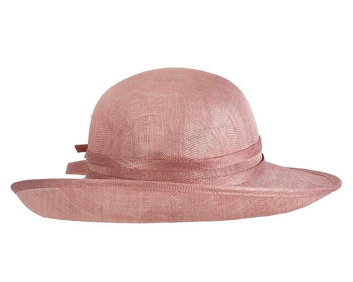 Fascinators Online - Dusty Pink ladies sinamay racing hat by Max Alexander 3