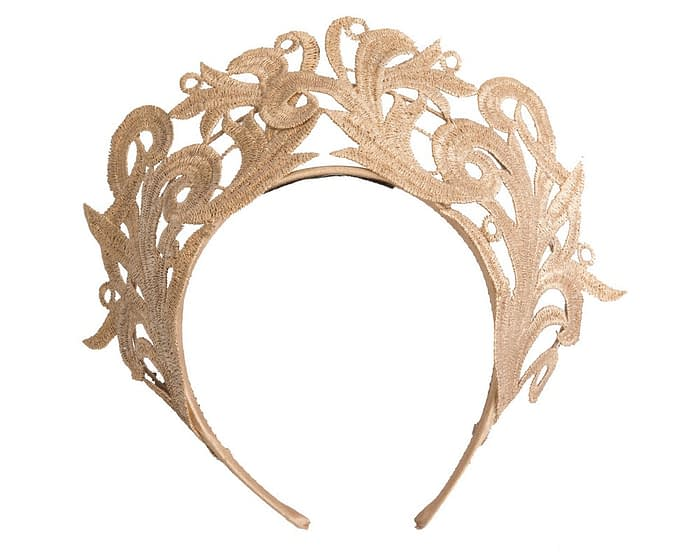 Fascinators Online - Gold lace crown racing fascinator by Max Alexander 2