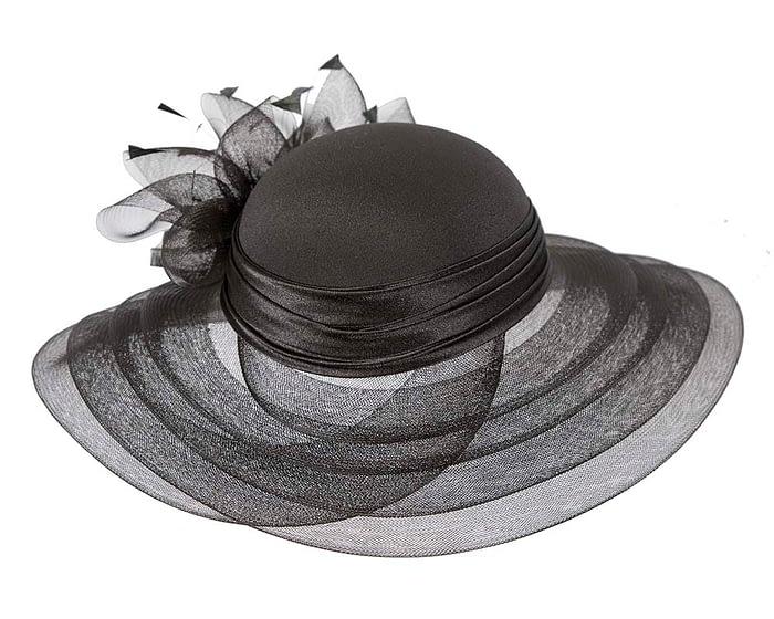 Fascinators Online - Black custom made Mother of the Bride hat 5
