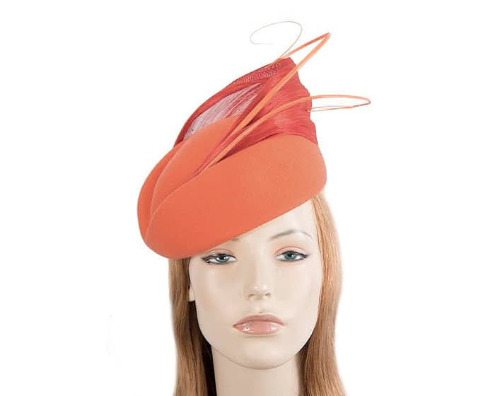 Fascinators Online - Orange felt ladies fashion beret hat with feather by Fillies Collection 1