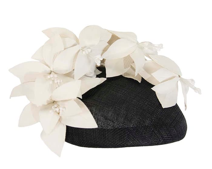 Fascinators Online - Black & cream leather flower pillbox fascinator by Fillies Collection 4
