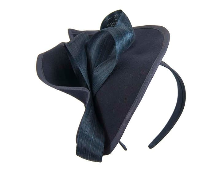 Fascinators Online - Felt navy twist with bow by Fillies Collection 2