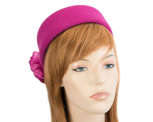 Fascinators Online - Fuchsia felt ladies fashion beret hat with bow by Fillies Collection 33
