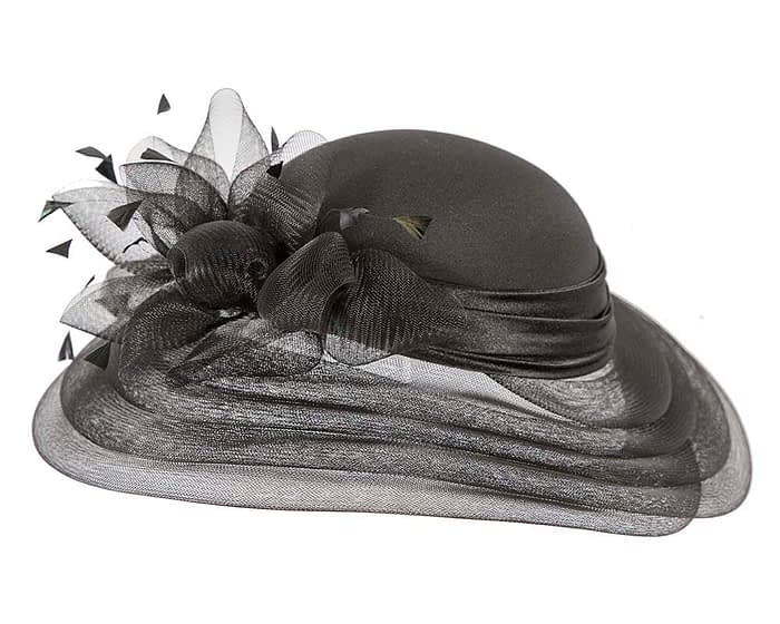 Fascinators Online - Black custom made Mother of the Bride hat 2