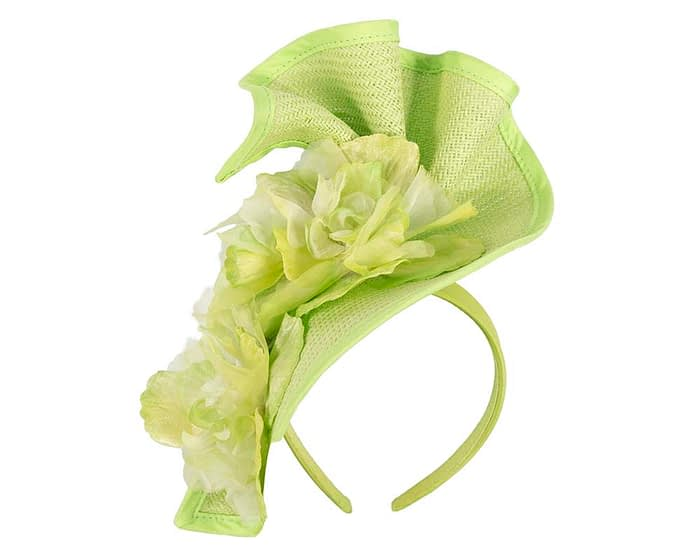 Fascinators Online - Bespoke large lime green flower fascinator by Fillies Collection 2