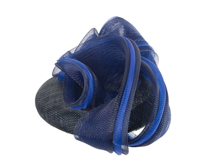 Fascinators Online - Navy & royal blue pillbox racing fascinator with wave by Fillies Collection 3