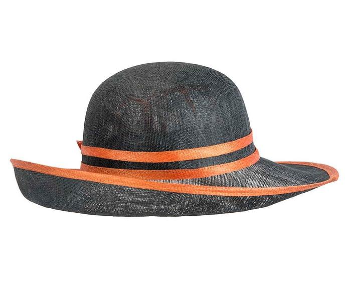 Fascinators Online - Black & Orange ladies sinamay racing hat by Max Alexander 3