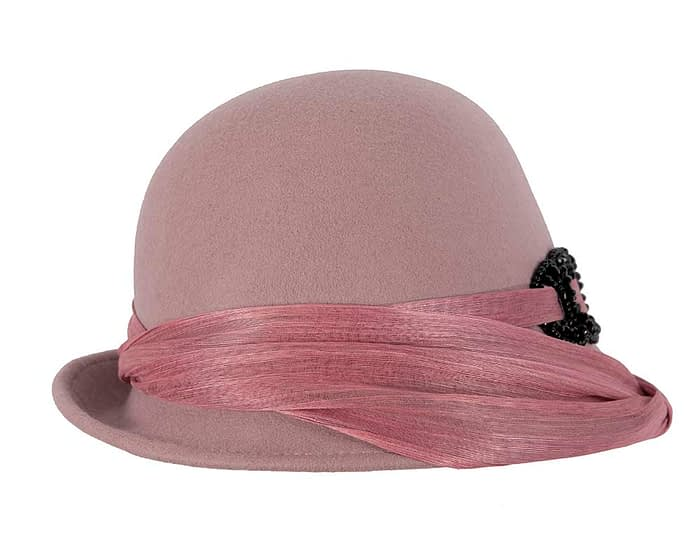 Fascinators Online - Fashion dusty pink felt cloche hat by Fillies Collection 6