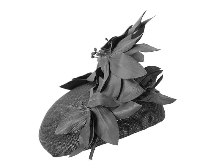 Fascinators Online - Black leather flower pillbox fascinator by Fillies Collection 3