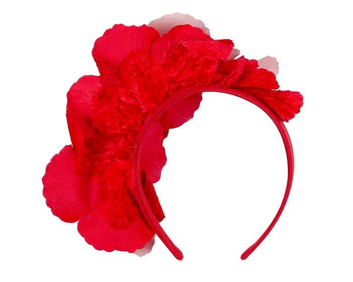Fascinators Online - Bright red flowers on the headband 4