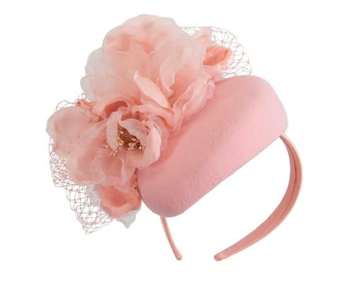Fascinators Online - Pink pillbox fascinator with flower by Fillies Collection 2