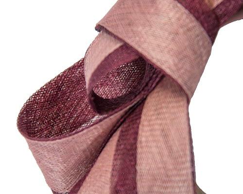 Fascinators Online - Wine & pink loops of sinamay racing fascinator by Max Alexander 3