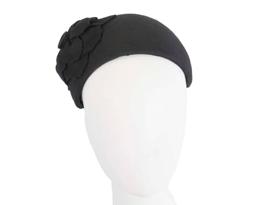 Fascinators Online - Wide headband black winter fascinator with flower by Max Alexander 76