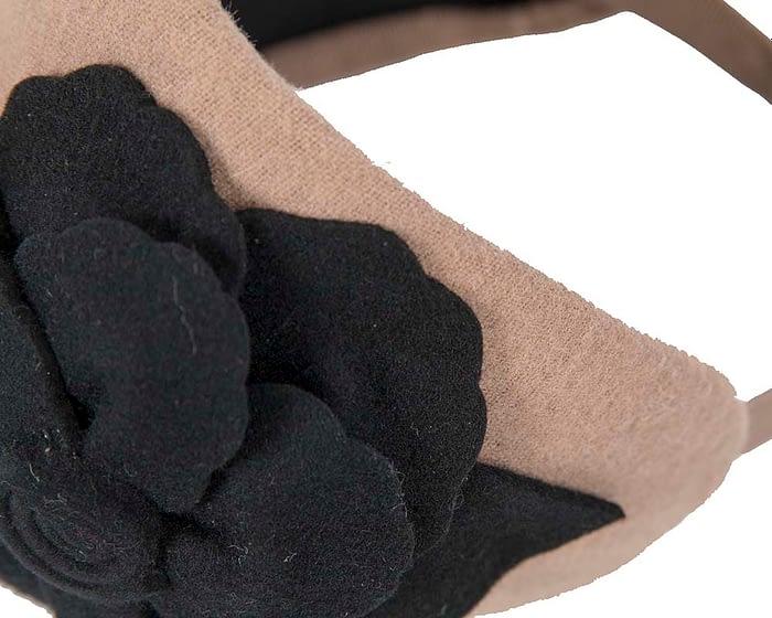 Fascinators Online - Wide headband beige winter fascinator with black flower by Max Alexander 3