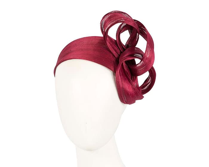Fascinators Online - Burgundy wine retro headband fascinator by Fillies Collection 1