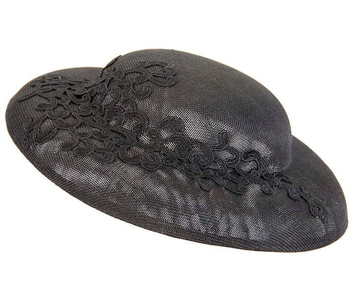 Fascinators Online - Black fashion boater hat with lace by Max Alexander 2