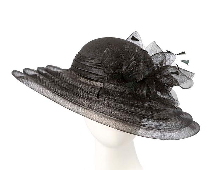 Fascinators Online - Black custom made Mother of the Bride hat 1