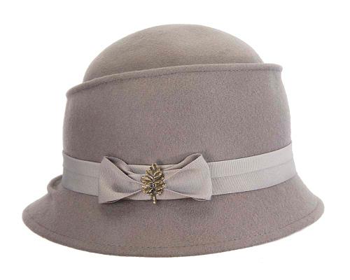 Fascinators Online - Grey ladies felt bucket hat 4