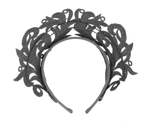 Fascinators Online - Black lace crown racing fascinator by Max Alexander 4