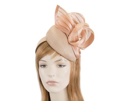 Fascinators Online - Nude pillbox fascinator with silk bow by Fillies Collection 1