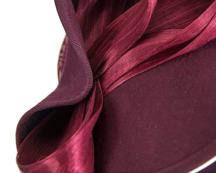 Fascinators Online - Burgundy felt twist with bow by Fillies Collection 6