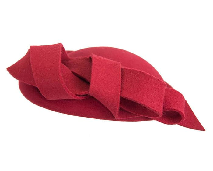 Fascinators Online - Large red felt fascinator hat by Fillies Collection 3