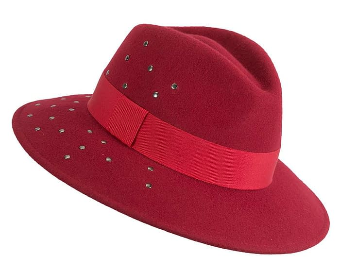 Fascinators Online - Wide brim dark red felt fedora hat by Max Alexander 2