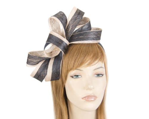 Fascinators Online - Black & white loops of sinamay racing fascinator by Max Alexander 24