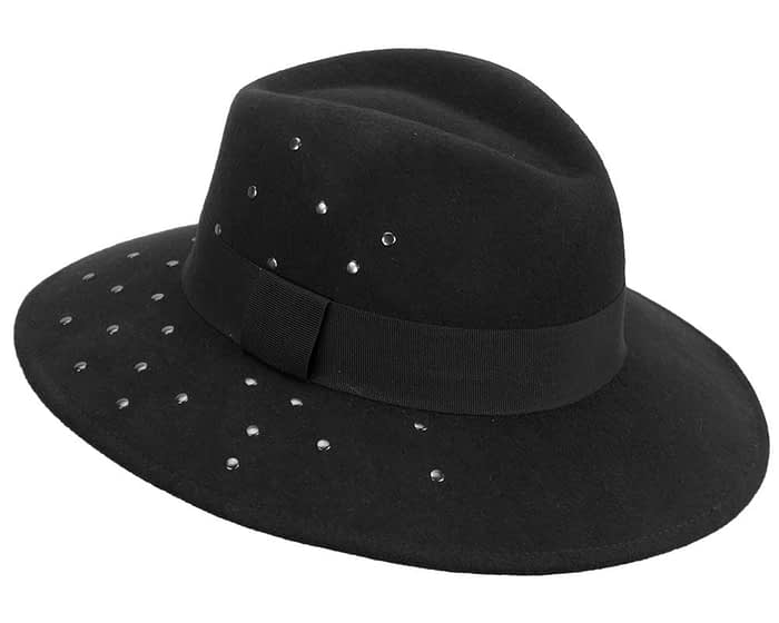 Fascinators Online - Wide brim black felt fedora hat by Max Alexander 2