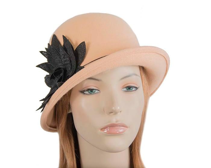 Fascinators Online - Beige felt cloche hat with lace by Max Alexander 1
