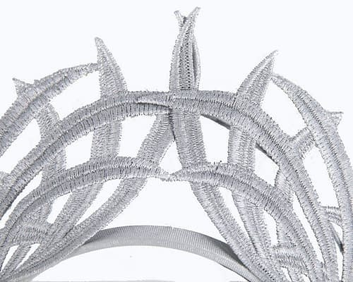 Fascinators Online - Silver lace crown 2