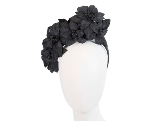 Fascinators Online - Black sculptured handcrafted flower fascinator by Fillies Collection 43