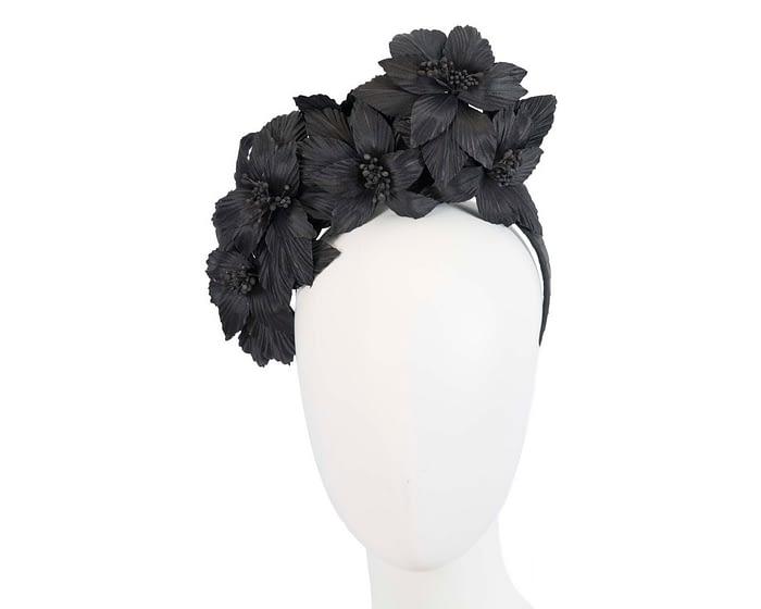 Fascinators Online - Black sculptured handcrafted flower fascinator by Fillies Collection 1