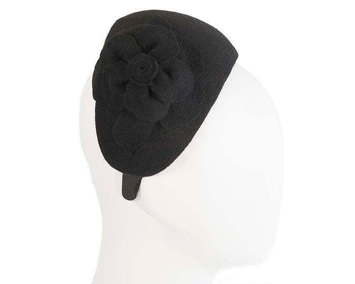 Fascinators Online - Wide headband black winter fascinator with flower by Max Alexander 2