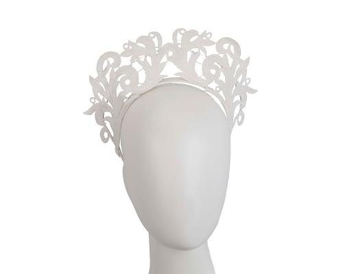 Fascinators Online - Ivory lace crown racing fascinator by Max Alexander 1