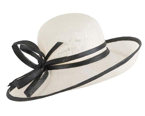 Fascinators Online - Cream & Black ladies sinamay racing hat by Max Alexander 2