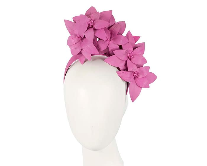 Fascinators Online - Fuchsia leather flower headband by Fillies Collection 1