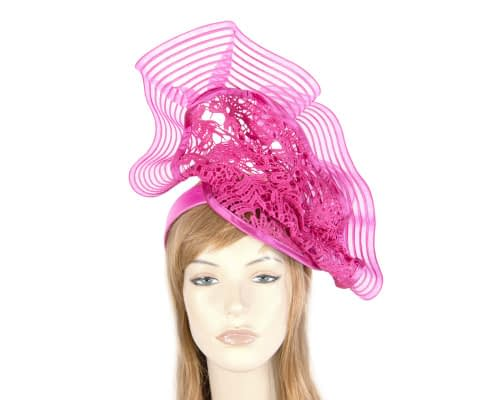 Fascinators Online - Large fuchsia racing fascinator with lace by Fillies Collection 1
