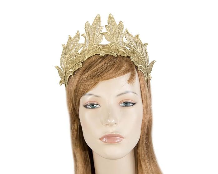 Fascinators Online - Gold lace crown fascinator by Max Alexander 1
