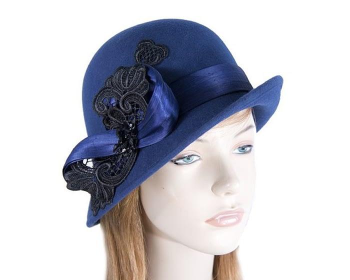 Fascinators Online - Navy autumn & winter fashion felt cloche hat by Fillies Collection 1