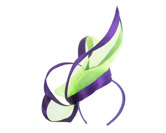 Fascinators Online - Edgy purple & lime fascinator by Fillies Collection 6