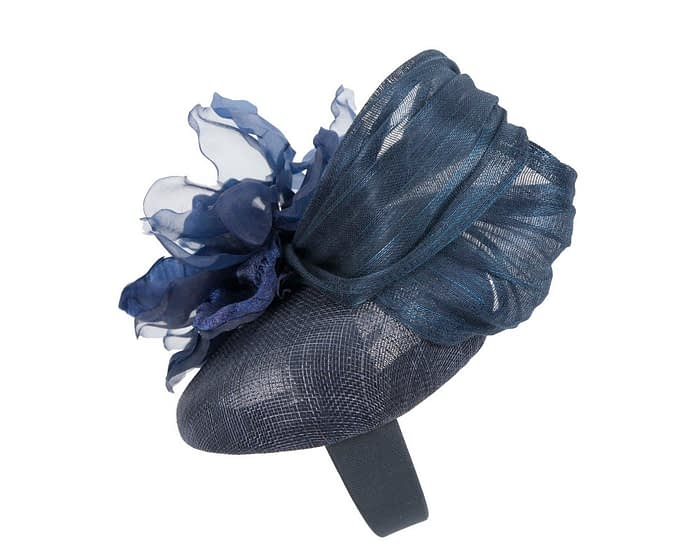 Fascinators Online - Navy pillbox fascinator with large flower by Fillies Collection 3