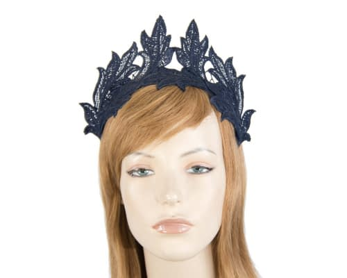 Fascinators Online - Navy lace crown fascinator by Max Alexander 1