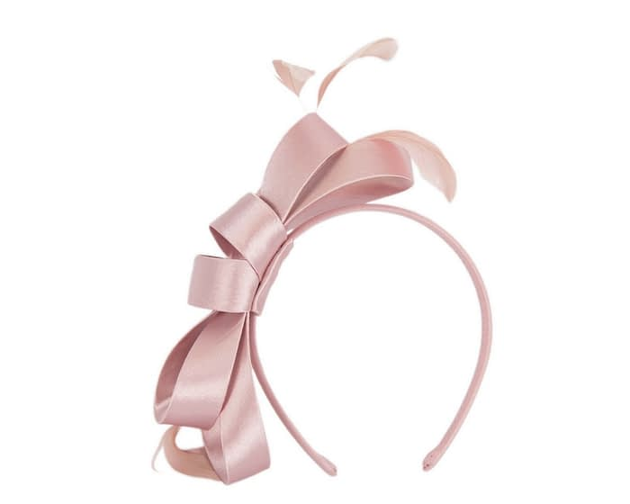 Fascinators Online - Dusty pink satin bow racing fascinator with feathers by Max Alexander 2