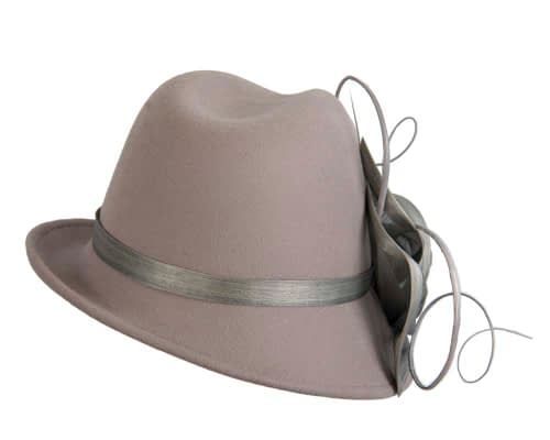 Fascinators Online - Exclusive grey felt trilby hat by Fillies Collection 6