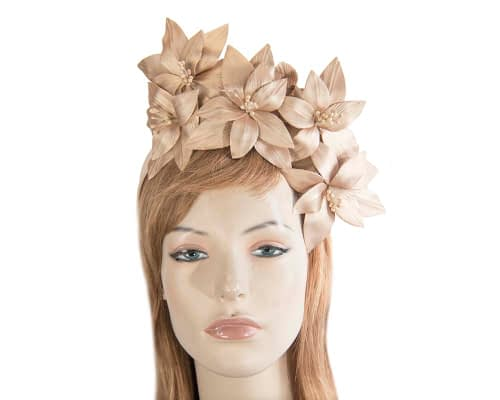Fascinators Online - Gold leather flower headband by Fillies Collection 3