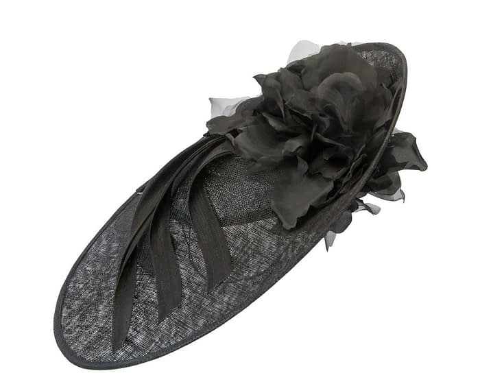 Fascinators Online - Large black plate racing fascinator by Fillies Collection 2